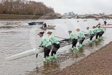 "The Boat Race season 2016 - Women's Boat Race Trial Eights (CUWBC, Cambridge): Race preparations - CUWBC boat ""Tideway"" and crew. River Thames between Putney Bridge and Mortlake, London SW15,  United Kingdom, on 10 December 2015 at 10:17, image #14"