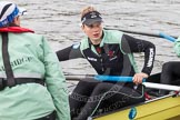 "The Boat Race season 2016 - Women's Boat Race Trial Eights (CUWBC, Cambridge): ""Twickeham"" stroke Myriam Goudet with cox Rosemary Ostfeld. River Thames between Putney Bridge and Mortlake, London SW15,  United Kingdom, on 10 December 2015 at 10:18, image #16"
