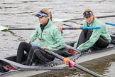 "The Boat Race season 2016 - Women's Boat Race Trial Eights (CUWBC, Cambridge): Alexandra Wood (6)  and Lucy Pike (5) in ""Tideway"". River Thames between Putney Bridge and Mortlake, London SW15,  United Kingdom, on 10 December 2015 at 10:19, image #22"