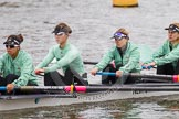 "The Boat Race season 2016 - Women's Boat Race Trial Eights (CUWBC, Cambridge): ""Tideway"", here stroke-Daphne Martschenko, 7-Thea Zabell, 6-Alexandra Wood, 5-Lucy Pike, and 4-Alice Jackson. River Thames between Putney Bridge and Mortlake, London SW15,  United Kingdom, on 10 December 2015 at 10:21, image #27"