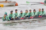 "The Boat Race season 2016 - Women's Boat Race Trial Eights (CUWBC, Cambridge): The ""Tideway"" crew, cox-Olivia Godwin, stroke-Daphne Martschenko, 7-Thea Zabell, 6-Alexandra Wood, 5-Lucy Pike, 4-Alice Jackson, 3-Rachel Elwood, 2-Evelyn Boettcher, bow-Kate Baker. River Thames between Putney Bridge and Mortlake, London SW15,  United Kingdom, on 10 December 2015 at 10:21, image #28"