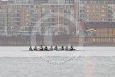 "The Boat Race season 2016 - Women's Boat Race Trial Eights (CUWBC, Cambridge): ""Tideway"" waiting for the start of the race between Wandsworth Bridge and Putney Bridge. River Thames between Putney Bridge and Mortlake, London SW15,  United Kingdom, on 10 December 2015 at 10:43, image #29"