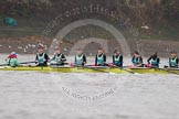 "The Boat Race season 2016 - Women's Boat Race Trial Eights (CUWBC, Cambridge): The ""Twickenham"" crew, Cox-Rosemary Ostfeld, stroke-Myriam Goudet, 7-Caroline Habjan, 6-Fiona Macklin, 5-Hannah Roberts, 4-Sarah Carlotti, 3-Ashton Brown, 2-Imogen Grant, bow-Dorottya Nagy. River Thames between Putney Bridge and Mortlake, London SW15,  United Kingdom, on 10 December 2015 at 10:57, image #32"