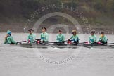 "The Boat Race season 2016 - Women's Boat Race Trial Eights (CUWBC, Cambridge): The ""Tideway"" crew, here cox-Olivia Godwin, stroke-Daphne Martschenko, 7-Thea Zabell, 6-Alexandra Wood, 5-Lucy Pike, 4-Alice Jackson, 3-Rachel Elwood. River Thames between Putney Bridge and Mortlake, London SW15,  United Kingdom, on 10 December 2015 at 10:57, image #33"