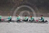 "The Boat Race season 2016 - Women's Boat Race Trial Eights (CUWBC, Cambridge): The ""Tideway"" crew, here 5-Lucy Pike, 4-Alice Jackson, 3-Rachel Elwood, 2-Evelyn Boettcher, bow-Kate Baker. River Thames between Putney Bridge and Mortlake, London SW15,  United Kingdom, on 10 December 2015 at 10:57, image #34"
