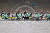 "The Boat Race season 2016 - Women's Boat Race Trial Eights (CUWBC, Cambridge): ""Tideway"" and ""Twickenham""  (behind) waiting for the start of the race. River Thames between Putney Bridge and Mortlake, London SW15,  United Kingdom, on 10 December 2015 at 10:57, image #35"