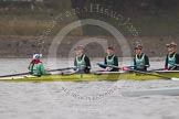 "The Boat Race season 2016 - Women's Boat Race Trial Eights (CUWBC, Cambridge): The ""Twickenham"" crew, here Cox-Rosemary Ostfeld, stroke-Myriam Goudet, 7-Caroline Habjan, 6-Fiona Macklin, 5-Hannah Roberts. River Thames between Putney Bridge and Mortlake, London SW15,  United Kingdom, on 10 December 2015 at 10:58, image #36"