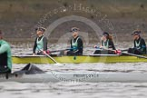"The Boat Race season 2016 - Women's Boat Race Trial Eights (CUWBC, Cambridge): ""Twickenham"" with stroke-Myriam Goudet, 7-Caroline Habjan, 6-Fiona Macklin, 5-Hannah Roberts, and ""Tideway"" (in front). River Thames between Putney Bridge and Mortlake, London SW15,  United Kingdom, on 10 December 2015 at 10:59, image #38"