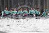 "The Boat Race season 2016 - Women's Boat Race Trial Eights (CUWBC, Cambridge): ""Tideway"" at Putney bridge before the start of the race, bow-Kate Baker, 2-Evelyn Boettcher, 3-Rachel Elwood, 4-Alice Jackson, 5-Lucy Pike, 6-Alexandra Wood, 7-Thea Zabell, stroke-Daphne Martschenko, cox-Olivia Godwin. River Thames between Putney Bridge and Mortlake, London SW15,  United Kingdom, on 10 December 2015 at 11:01, image #39"