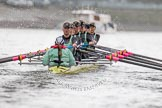 "The Boat Race season 2016 - Women's Boat Race Trial Eights (CUWBC, Cambridge): ""Twickenham"" at the start of the race, cox-Rosemary Ostfeld, stroke-Myriam Goudet, 7-Caroline Habjan, 6-Fiona Macklin, 5-Hannah Roberts, 4-Sarah Carlotti, 3-Ashton Brown, 2-Imogen Grant, bow-Dorottya Nagy. River Thames between Putney Bridge and Mortlake, London SW15,  United Kingdom, on 10 December 2015 at 11:04, image #45"