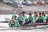 """Tideway"" during the race at the boathouses, cox-Olivia Godwin, stroke-Daphne Martschenko, 7-Thea Zabell, 6-Alexandra Wood, 5-Lucy Pike, 4-Alice Jackson, 3-Rachel Elwood"