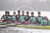 "The Boat Race season 2016 - Women's Boat Race Trial Eights (CUWBC, Cambridge): ""Twickenham"" during the race, cox-Rosemary Ostfeld, stroke-Myriam Goudet, 7-Caroline Habjan, 6-Fiona Macklin, 5-Hannah Roberts, 4-Sarah Carlotti, 3-Ashton Brown, 2-Imogen Grant, bow-Dorottya Nagy. River Thames between Putney Bridge and Mortlake, London SW15,  United Kingdom, on 10 December 2015 at 11:05, image #52"