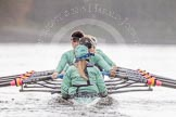 "The Boat Race season 2016 - Women's Boat Race Trial Eights (CUWBC, Cambridge): Rear view of ""Tideway"" during the race, cox-Olivia Godwin, stroke-Daphne Martschenko, 7-Thea Zabell, 6-Alexandra Wood, 5-Lucy Pike, 4-Alice Jackson, 3-Rachel Elwood, 2-Evelyn Boettcher, bow-Kate Baker. River Thames between Putney Bridge and Mortlake, London SW15,  United Kingdom, on 10 December 2015 at 11:05, image #53"