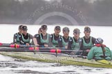 "The Boat Race season 2016 - Women's Boat Race Trial Eights (CUWBC, Cambridge): ""Twickenham"" during the race, bow-Dorottya Nagy, 2-Imogen Grant, 3-Ashton Brown, 4-Sarah Carlotti, 5-Hannah Roberts, 6-Fiona Macklin, 7-Caroline Habjan, stroke-Myriam Goudet, cox-Rosemary Ostfeld. River Thames between Putney Bridge and Mortlake, London SW15,  United Kingdom, on 10 December 2015 at 11:05, image #54"