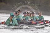 "The Boat Race season 2016 - Women's Boat Race Trial Eights (CUWBC, Cambridge): ""Tideway""  during the race, cox-Olivia Godwin, stroke-Daphne Martschenko, 7-Thea Zabell, 6-Alexandra Wood, 5-Lucy Pike, 4-Alice Jackson, 3-Rachel Elwood, 2-Evelyn Boettcher, bow-Kate Baker. River Thames between Putney Bridge and Mortlake, London SW15,  United Kingdom, on 10 December 2015 at 11:06, image #58"