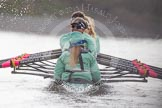 "The Boat Race season 2016 - Women's Boat Race Trial Eights (CUWBC, Cambridge): Rear view of ""Tideway"" during the race, cox-Olivia Godwin, stroke-Daphne Martschenko, 7-Thea Zabell, 6-Alexandra Wood, 5-Lucy Pike, 4-Alice Jackson, 3-Rachel Elwood, 2-Evelyn Boettcher, bow-Kate Baker. River Thames between Putney Bridge and Mortlake, London SW15,  United Kingdom, on 10 December 2015 at 11:07, image #60"