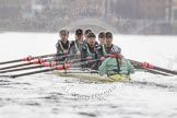 "The Boat Race season 2016 - Women's Boat Race Trial Eights (CUWBC, Cambridge): ""Twickenham"" during the race, bow-Dorottya Nagy, 2-Imogen Grant, 3-Ashton Brown, 4-Sarah Carlotti, 5-Hannah Roberts, 6-Fiona Macklin, 7-Caroline Habjan, stroke-Myriam Goudet, cox-Rosemary Ostfeld. River Thames between Putney Bridge and Mortlake, London SW15,  United Kingdom, on 10 December 2015 at 11:07, image #61"