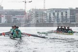 """Tideway"" and ""Twickenham"" racing near Fulham Reach"