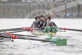 "The Boat Race season 2016 - Women's Boat Race Trial Eights (CUWBC, Cambridge): ""Twickenham"" in the lead at Fulham Reach. River Thames between Putney Bridge and Mortlake, London SW15,  United Kingdom, on 10 December 2015 at 11:08, image #68"