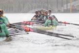 "The Boat Race season 2016 - Women's Boat Race Trial Eights (CUWBC, Cambridge): ""Twickenham"" in the lead at Fulham Reach, seen behind the oars of ""Tideway"". River Thames between Putney Bridge and Mortlake, London SW15,  United Kingdom, on 10 December 2015 at 11:08, image #72"