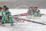 "The Boat Race season 2016 - Women's Boat Race Trial Eights (CUWBC, Cambridge): ""Tideway"" chasing ""Twickenham"" near Fulham Reach. River Thames between Putney Bridge and Mortlake, London SW15,  United Kingdom, on 10 December 2015 at 11:08, image #73"
