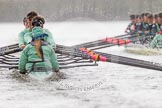 "The Boat Race season 2016 - Women's Boat Race Trial Eights (CUWBC, Cambridge): ""Tideway"" chasing ""Twickenham"" near Fulham Reach. River Thames between Putney Bridge and Mortlake, London SW15,  United Kingdom, on 10 December 2015 at 11:08, image #74"