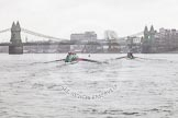 "The Boat Race season 2016 - Women's Boat Race Trial Eights (CUWBC, Cambridge): ""Tideway"" chasing ""Twickenham"" on the approach to Hammersmith Bridge. River Thames between Putney Bridge and Mortlake, London SW15,  United Kingdom, on 10 December 2015 at 11:10, image #76"