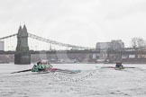 "The Boat Race season 2016 - Women's Boat Race Trial Eights (CUWBC, Cambridge): ""Tideway"" chasing ""Twickenham"" on the approach to Hammersmith Bridge. River Thames between Putney Bridge and Mortlake, London SW15,  United Kingdom, on 10 December 2015 at 11:10, image #77"