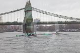 "The Boat Race season 2016 - Women's Boat Race Trial Eights (CUWBC, Cambridge): ""Tideway"" chasing ""Twickenham"" on the approach to Hammersmith Bridge. River Thames between Putney Bridge and Mortlake, London SW15,  United Kingdom, on 10 December 2015 at 11:10, image #78"
