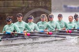 "The Boat Race season 2016 - Women's Boat Race Trial Eights (CUWBC, Cambridge): ""Tideway"" passing under Hammersmith Bridge, stroke-Daphne Martschenko, 7-Thea Zabell, 6-Alexandra Wood, 5-Lucy Pike, 4-Alice Jackson, 3-Rachel Elwood, 2-Evelyn Boettcher, bow-Kate Baker. River Thames between Putney Bridge and Mortlake, London SW15,  United Kingdom, on 10 December 2015 at 11:11, image #79"