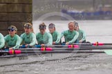 "The Boat Race season 2016 - Women's Boat Race Trial Eights (CUWBC, Cambridge): ""Tideway"" passing under Hammersmith Bridge, 6-Alexandra Wood, 5-Lucy Pike, 4-Alice Jackson, 3-Rachel Elwood, 2-Evelyn Boettcher, bow-Kate Baker. River Thames between Putney Bridge and Mortlake, London SW15,  United Kingdom, on 10 December 2015 at 11:11, image #80"