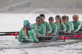 "The Boat Race season 2016 - Women's Boat Race Trial Eights (CUWBC, Cambridge): ""Tideway"" just after passing Hammersmith Bridge, Cox-Olivia Godwin, stroke-Daphne Martschenko, 7-Thea Zabell, 6-Alexandra Wood, 5-Lucy Pike, 4-Alice Jackson, 3-Rachel Elwood, 2-Evelyn Boettcher, bow-Kate Baker. River Thames between Putney Bridge and Mortlake, London SW15,  United Kingdom, on 10 December 2015 at 11:11, image #81"
