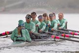"The Boat Race season 2016 - Women's Boat Race Trial Eights (CUWBC, Cambridge): ""Tideway"" just after passing Hammersmith Bridge, Cox-Olivia Godwin, stroke-Daphne Martschenko, 7-Thea Zabell, 6-Alexandra Wood, 5-Lucy Pike, 4-Alice Jackson, 3-Rachel Elwood, 2-Evelyn Boettcher, bow-Kate Baker. River Thames between Putney Bridge and Mortlake, London SW15,  United Kingdom, on 10 December 2015 at 11:11, image #82"