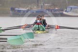"The Boat Race season 2016 - Women's Boat Race Trial Eights (CUWBC, Cambridge): ""Twickenham"" in the lead after passing Hammersmith Bridge. River Thames between Putney Bridge and Mortlake, London SW15,  United Kingdom, on 10 December 2015 at 11:11, image #83"