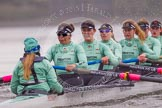 "The Boat Race season 2016 - Women's Boat Race Trial Eights (CUWBC, Cambridge): ""Tideway"" with cox-Olivia Godwin, stroke-Daphne Martschenko, 7-Thea Zabell, 6-Alexandra Wood, 5-Lucy Pike, 4-Alice Jackson, 3-Rachel Elwood, 2-Evelyn Boettcher, bow-Kate Baker. River Thames between Putney Bridge and Mortlake, London SW15,  United Kingdom, on 10 December 2015 at 11:11, image #85"