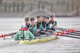 "The Boat Race season 2016 - Women's Boat Race Trial Eights (CUWBC, Cambridge): ""Twickenham"" with cox-Rosemary Ostfeld, stroke-Myriam Goudet, 7-Caroline Habjan, 6-Fiona Macklin, 5-Hannah Roberts, 4-Sarah Carlotti, 3-Ashton Brown, 2-Imogen Grant, bow-Dorottya Nagy. River Thames between Putney Bridge and Mortlake, London SW15,  United Kingdom, on 10 December 2015 at 11:11, image #87"
