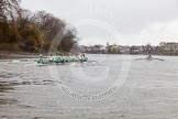 "The Boat Race season 2016 - Women's Boat Race Trial Eights (CUWBC, Cambridge): ""Twickenham"" in the lead at the Surrey Bend. River Thames between Putney Bridge and Mortlake, London SW15,  United Kingdom, on 10 December 2015 at 11:12, image #88"