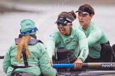 "The Boat Race season 2016 - Women's Boat Race Trial Eights (CUWBC, Cambridge): Close-up of ""Tideway"", cox-Olivia Godwin, stroke-Daphne Martschenko, 7-Thea Zabell. River Thames between Putney Bridge and Mortlake, London SW15,  United Kingdom, on 10 December 2015 at 11:12, image #89"
