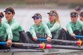 "The Boat Race season 2016 - Women's Boat Race Trial Eights (CUWBC, Cambridge): ""Tideway"" with 7-Thea Zabell, 6-Alexandra Wood, 5-Lucy Pike, 4-Alice Jackson, 3-Rachel Elwood, 2-Evelyn Boettcher, bow-Kate Baker. River Thames between Putney Bridge and Mortlake, London SW15,  United Kingdom, on 10 December 2015 at 11:12, image #90"