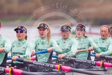 "The Boat Race season 2016 - Women's Boat Race Trial Eights (CUWBC, Cambridge): ""Tideway"" with 6-Alexandra Wood, 5-Lucy Pike, 4-Alice Jackson, 3-Rachel Elwood, 2-Evelyn Boettcher, bow-Kate Baker. River Thames between Putney Bridge and Mortlake, London SW15,  United Kingdom, on 10 December 2015 at 11:12, image #91"