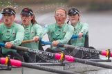 "The Boat Race season 2016 - Women's Boat Race Trial Eights (CUWBC, Cambridge): ""Tideway"" with 4-Alice Jackson, 3-Rachel Elwood, 2-Evelyn Boettcher, bow-Kate Baker. River Thames between Putney Bridge and Mortlake, London SW15,  United Kingdom, on 10 December 2015 at 11:13, image #92"