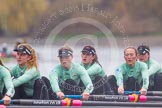 "The Boat Race season 2016 - Women's Boat Race Trial Eights (CUWBC, Cambridge): ""Tideway"" with 5-Lucy Pike, 4-Alice Jackson, 3-Rachel Elwood, 2-Evelyn Boettcher, bow-Kate Baker. River Thames between Putney Bridge and Mortlake, London SW15,  United Kingdom, on 10 December 2015 at 11:13, image #93"
