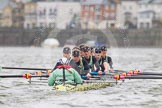 "The Boat Race season 2016 - Women's Boat Race Trial Eights (CUWBC, Cambridge): ""Twickenham"" in the lead at the Surrey Bend, cox-Rosemary Ostfeld, stroke-Myriam Goudet, 7-Caroline Habjan, 6-Fiona Macklin, 5-Hannah Roberts, 4-Sarah Carlotti, 3-Ashton Brown, 2-Imogen Grant, bow-Dorottya Nagy. River Thames between Putney Bridge and Mortlake, London SW15,  United Kingdom, on 10 December 2015 at 11:14, image #95"