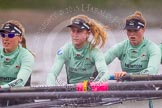 "The Boat Race season 2016 - Women's Boat Race Trial Eights (CUWBC, Cambridge): 6-Alexandra Wood, 5-Lucy Pike and 4-Alice Jackson in ""Tideway"". River Thames between Putney Bridge and Mortlake, London SW15,  United Kingdom, on 10 December 2015 at 11:14, image #98"