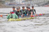 "The Boat Race season 2016 - Women's Boat Race Trial Eights (CUWBC, Cambridge): ""Twickenham"" in the lead at the Surrey Bend, cox-Rosemary Ostfeld, stroke-Myriam Goudet, 7-Caroline Habjan, 6-Fiona Macklin, 5-Hannah Roberts, 4-Sarah Carlotti, 3-Ashton Brown, 2-Imogen Grant, bow-Dorottya Nagy. River Thames between Putney Bridge and Mortlake, London SW15,  United Kingdom, on 10 December 2015 at 11:14, image #100"