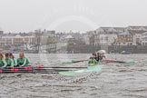 "The Boat Race season 2016 - Women's Boat Race Trial Eights (CUWBC, Cambridge): ""Twickenham"" in the lead at the Surrey Bend, chased by ""Tideway"". River Thames between Putney Bridge and Mortlake, London SW15,  United Kingdom, on 10 December 2015 at 11:14, image #101"