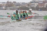 "The Boat Race season 2016 - Women's Boat Race Trial Eights (CUWBC, Cambridge): ""Twickenham"" in the lead at the Surrey Bend, chased by ""Tideway"". River Thames between Putney Bridge and Mortlake, London SW15,  United Kingdom, on 10 December 2015 at 11:15, image #102"