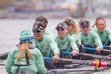 "The Boat Race season 2016 - Women's Boat Race Trial Eights (CUWBC, Cambridge): ""Tideway"" with cox-Olivia Godwin, stroke-Daphne Martschenko, 7-Thea Zabell, 6-Alexandra Wood, 5-Lucy Pike, 4-Alice Jackson, 3-Rachel Elwood, 2-Evelyn Boettcher, bow-Kate Baker. River Thames between Putney Bridge and Mortlake, London SW15,  United Kingdom, on 10 December 2015 at 11:15, image #103"
