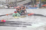 "The Boat Race season 2016 - Women's Boat Race Trial Eights (CUWBC, Cambridge): ""Twickenham"" chased by ""Tideway"" at the Surrey Bend. River Thames between Putney Bridge and Mortlake, London SW15,  United Kingdom, on 10 December 2015 at 11:15, image #105"