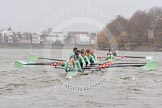 "The Boat Race season 2016 - Women's Boat Race Trial Eights (CUWBC, Cambridge): ""Tideway"" chasing ""Twickenham"" in the Bandstand area. River Thames between Putney Bridge and Mortlake, London SW15,  United Kingdom, on 10 December 2015 at 11:17, image #108"